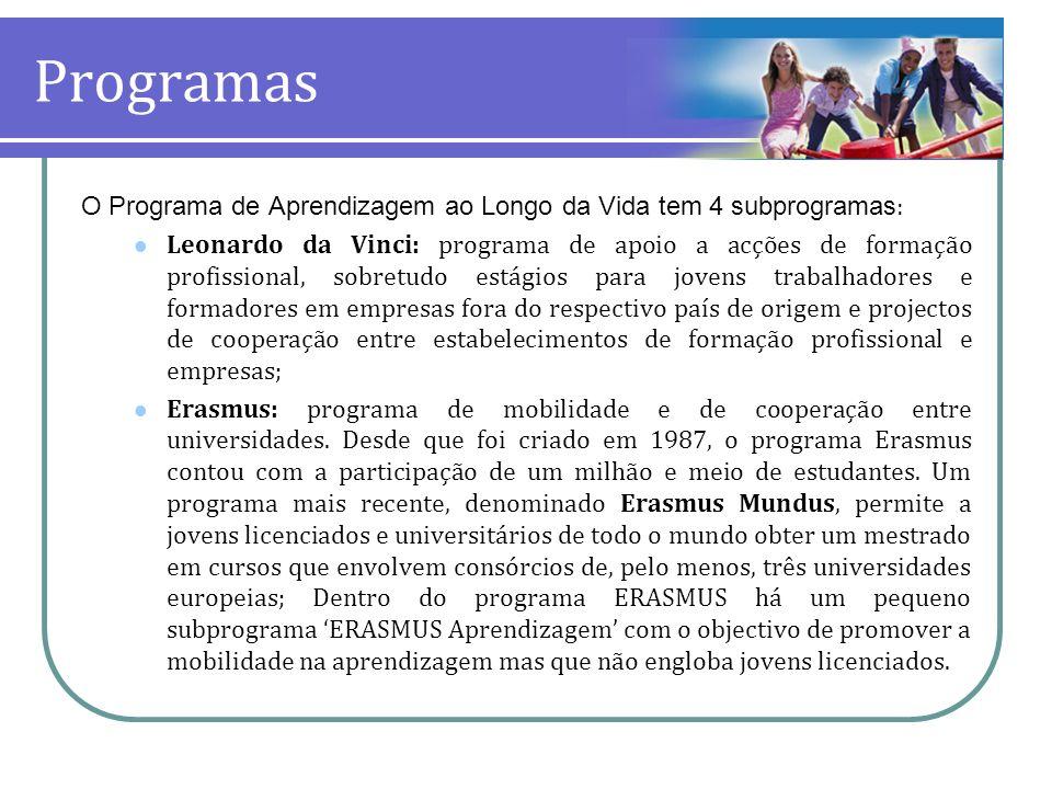 Programas O Programa de Aprendizagem ao Longo da Vida tem 4 subprogramas : Leonardo da Vinci: programa de apoio a acções de formação profissional, sob