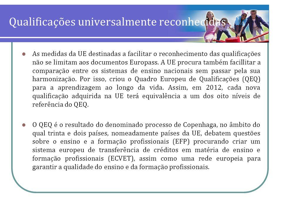 Qualificações universalmente reconhecidas As medidas da UE destinadas a facilitar o reconhecimento das qualificações não se limitam aos documentos Eur