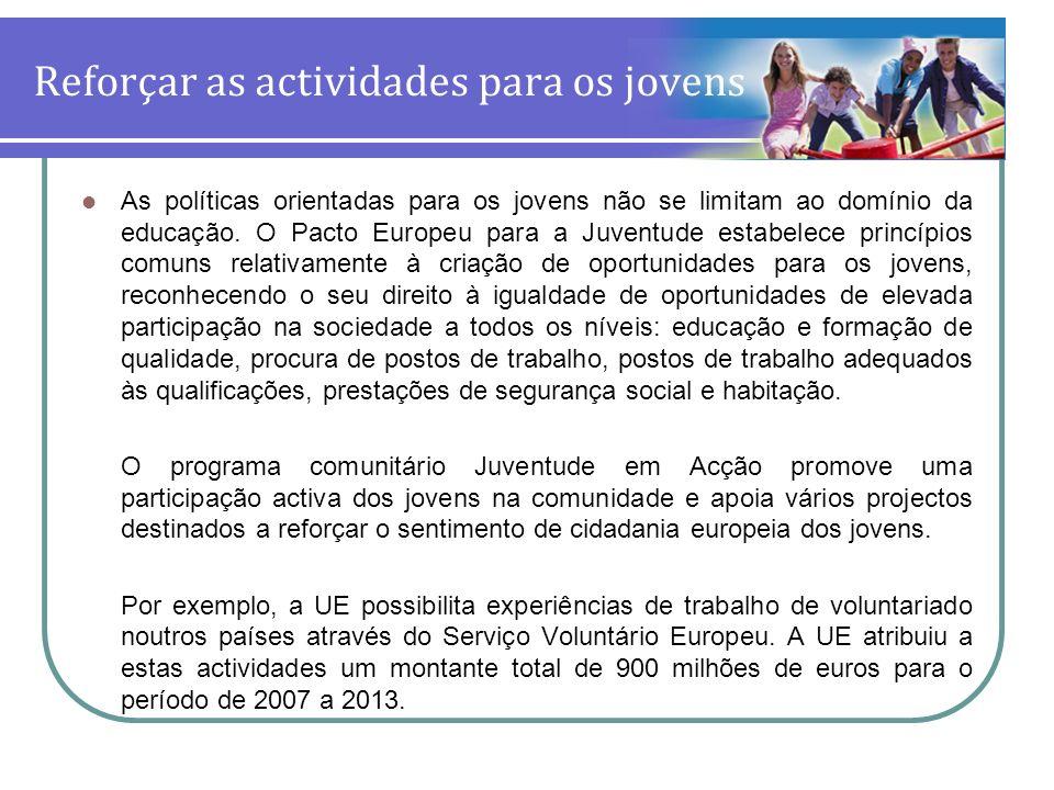 Reforçar as actividades para os jovens As políticas orientadas para os jovens não se limitam ao domínio da educação. O Pacto Europeu para a Juventude