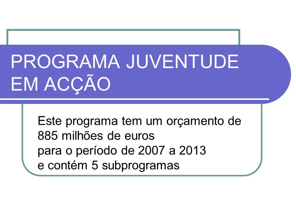 PROGRAMA JUVENTUDE EM ACÇÃO Este programa tem um orçamento de 885 milhões de euros para o período de 2007 a 2013 e contém 5 subprogramas