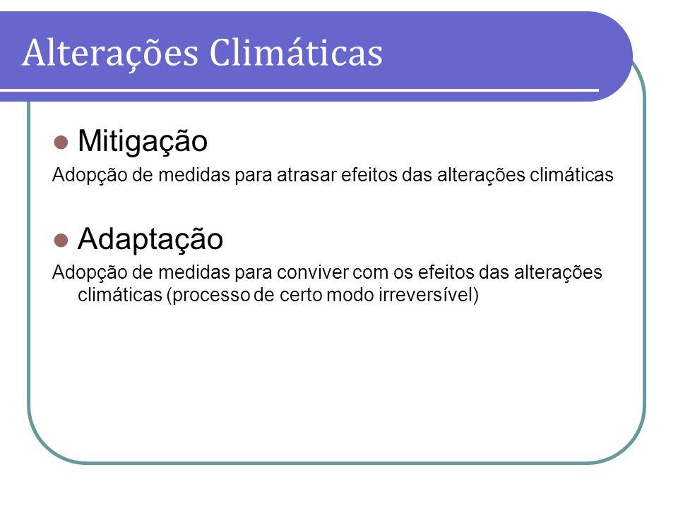 Mitigação Adopção de medidas para atrasar efeitos das alterações climáticas Adaptação Adopção de medidas para conviver com os efeitos das alterações c