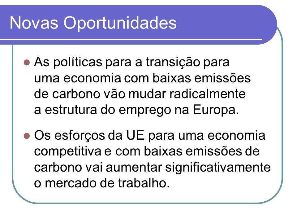 Novas Oportunidades As políticas para a transição para uma economia com baixas emissões de carbono vão mudar radicalmente a estrutura do emprego na Eu