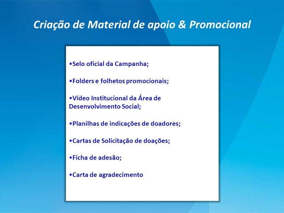 Selo oficial da Campanha; Folders e folhetos promocionais; Vídeo Institucional da Área de Desenvolvimento Social; Planilhas de indicações de doadores;