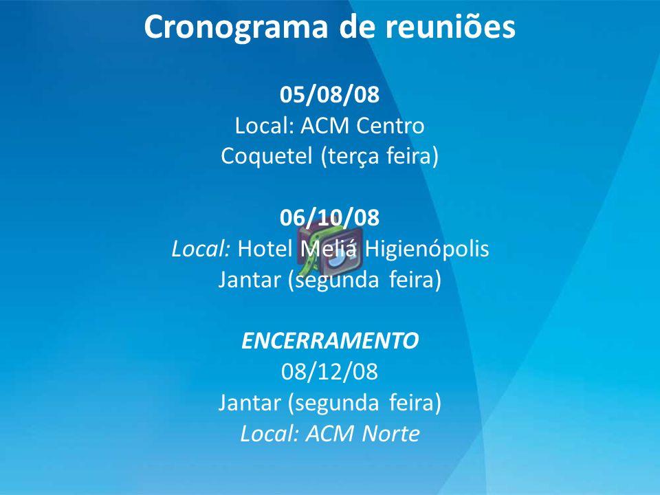 Cronograma de reuniões 05/08/08 Local: ACM Centro Coquetel (terça feira) 06/10/08 Local: Hotel Meliá Higienópolis Jantar (segunda feira) ENCERRAMENTO