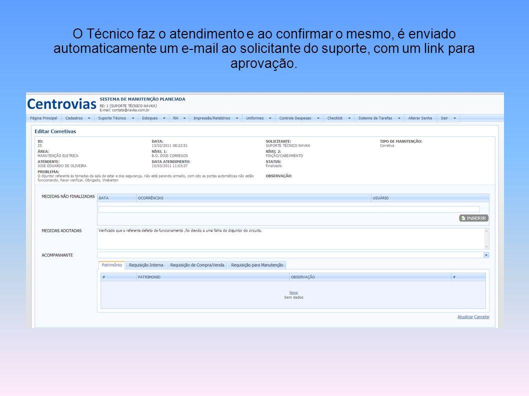 O Técnico faz o atendimento e ao confirmar o mesmo, é enviado automaticamente um e-mail ao solicitante do suporte, com um link para aprovação.