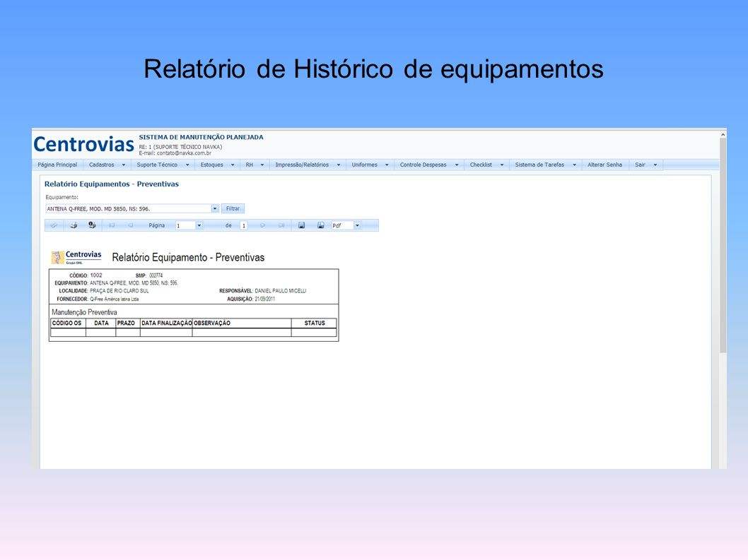 Relatório de Histórico de equipamentos