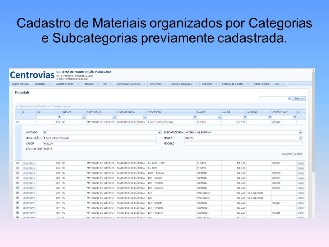 Cadastro de Materiais organizados por Categorias e Subcategorias previamente cadastrada.