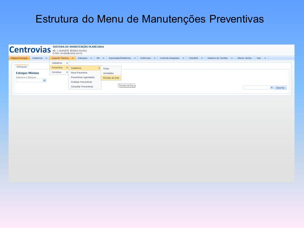 Estrutura de Menu dos Cadastro Básicos par Manutenções Preventivas e Corretivas