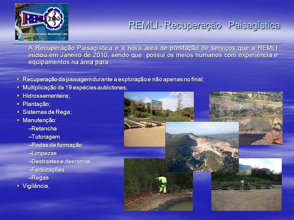 A Recuperação Paisagística é a nova area de prestação de serviços que a REMLI iniciou em Janeiro de 2010, sendo que possui os meios humanos com experi