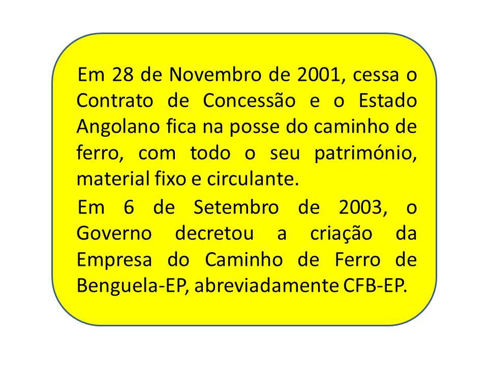 Em 28 de Novembro de 2001, cessa o Contrato de Concessão e o Estado Angolano fica na posse do caminho de ferro, com todo o seu património, material fi
