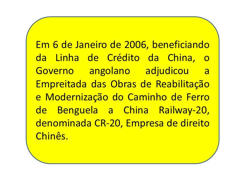 Em 6 de Janeiro de 2006, beneficiando da Linha de Crédito da China, o Governo angolano adjudicou a Empreitada das Obras de Reabilitação e Modernização