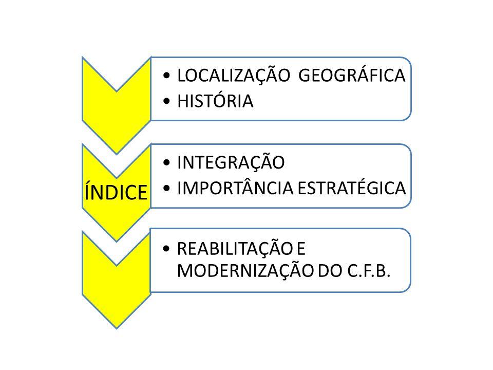 LOCALIZAÇÃO GEOGRÁFICA HISTÓRIA ÍNDICE INTEGRAÇÃO IMPORTÂNCIA ESTRATÉGICA REABILITAÇÃO E MODERNIZAÇÃO DO C.F.B.