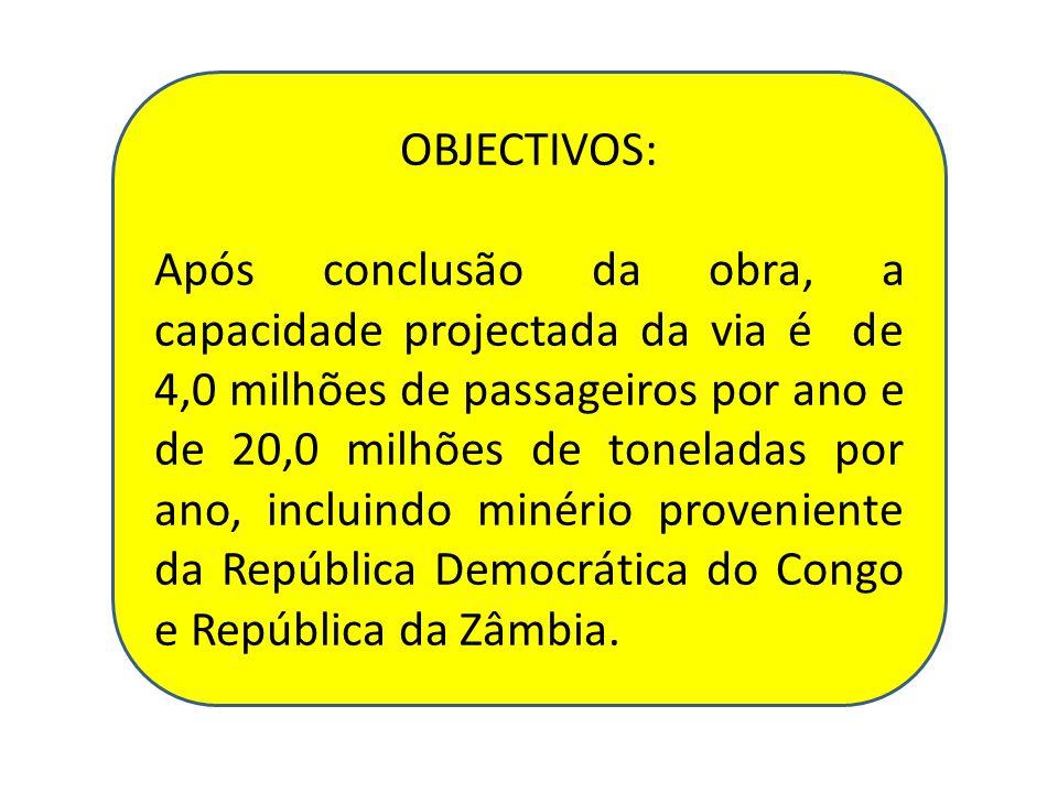 OBJECTIVOS: Após conclusão da obra, a capacidade projectada da via é de 4,0 milhões de passageiros por ano e de 20,0 milhões de toneladas por ano, inc