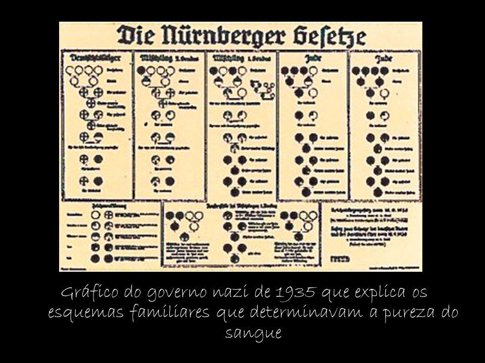 Gráfico do governo nazi de 1935 que explica os esquemas familiares que determinavam a pureza do sangue