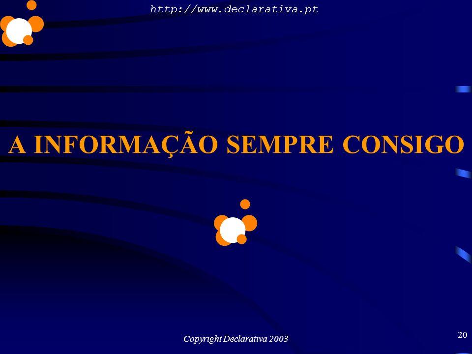 http://www.declarativa.pt Copyright Declarativa 2003 20 A INFORMAÇÃO SEMPRE CONSIGO
