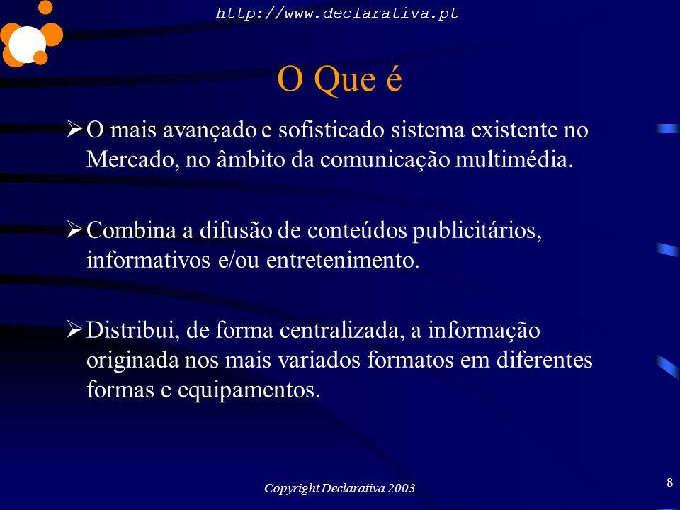 http://www.declarativa.pt Copyright Declarativa 2003 9 O Que é Plataforma ideal para informação publicitária, meio de formação e apresentação à distância.