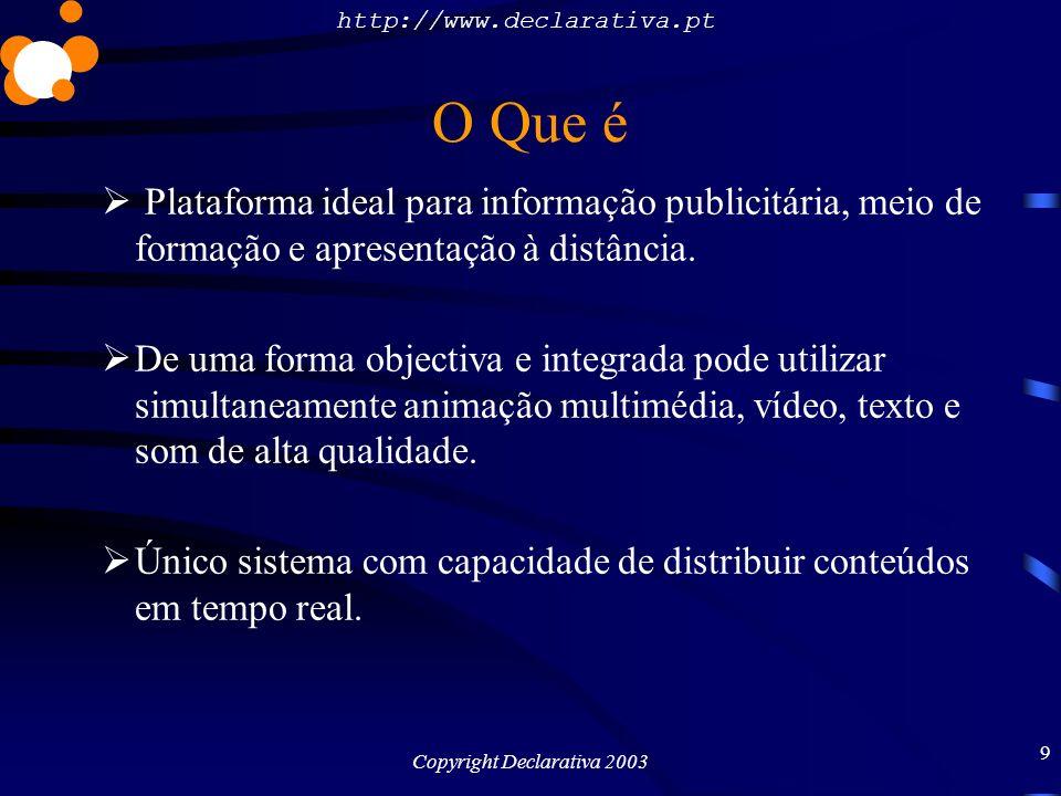 http://www.declarativa.pt Copyright Declarativa 2003 10 O Que é De uma forma objectiva e integrada pode utilizar simultaneamente animação multimédia, vídeo, texto e som de alta qualidade.