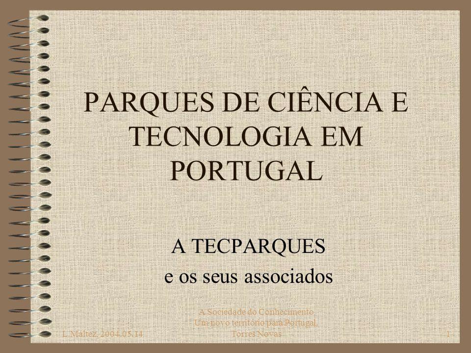 L.Maltez, 2004.05.14 A Sociedade do Conhecimento Um novo território para Portugal, Torres Novas2 MOVIMENTO PORTUGUÊS DE PARQUES DE C&T Primeira ideia de Tecnopólo em 1983 Terreno com 12 hectares pertencente ao INETI em Lisboa LISPOLIS criado em 1991 para promover e gerir o tecnopólo associa INETI, AIP, CML, CEDINTEC, FCT, IAPMEI, IST Novas iniciativas nos anos 90 em todo o País –Estado, Universidades, Autarquias Ideia muito viva hoje, tal como em toda a Europa