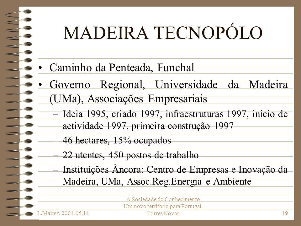 L.Maltez, 2004.05.14 A Sociedade do Conhecimento Um novo território para Portugal, Torres Novas19 MADEIRA TECNOPÓLO Caminho da Penteada, Funchal Gover