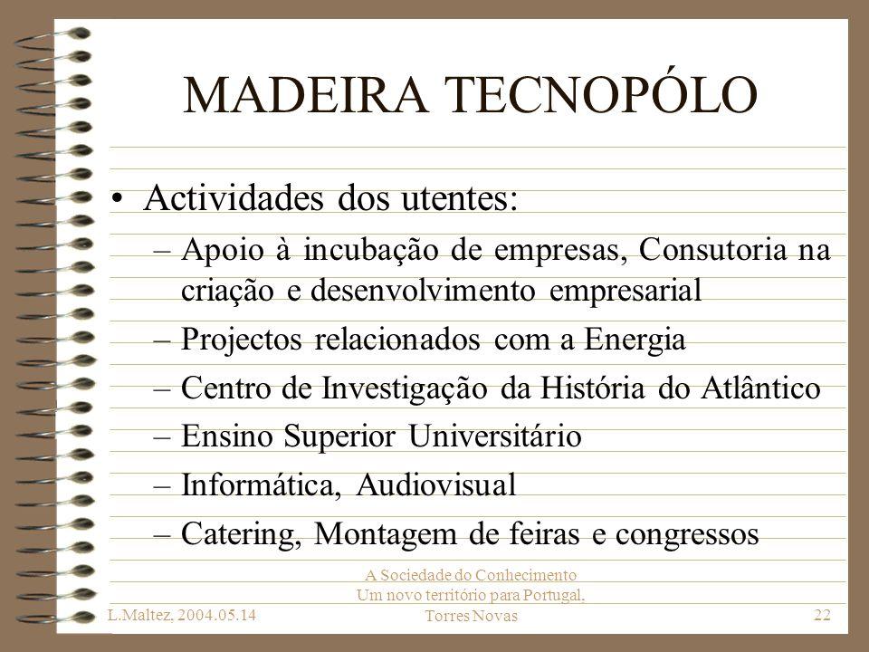 L.Maltez, 2004.05.14 A Sociedade do Conhecimento Um novo território para Portugal, Torres Novas22 MADEIRA TECNOPÓLO Actividades dos utentes: –Apoio à