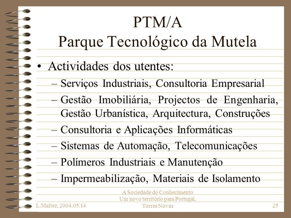 L.Maltez, 2004.05.14 A Sociedade do Conhecimento Um novo território para Portugal, Torres Novas25 PTM/A Parque Tecnológico da Mutela Actividades dos u