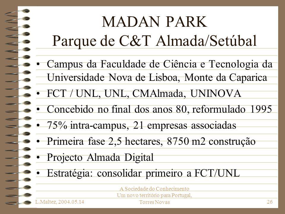 L.Maltez, 2004.05.14 A Sociedade do Conhecimento Um novo território para Portugal, Torres Novas26 MADAN PARK Parque de C&T Almada/Setúbal Campus da Fa