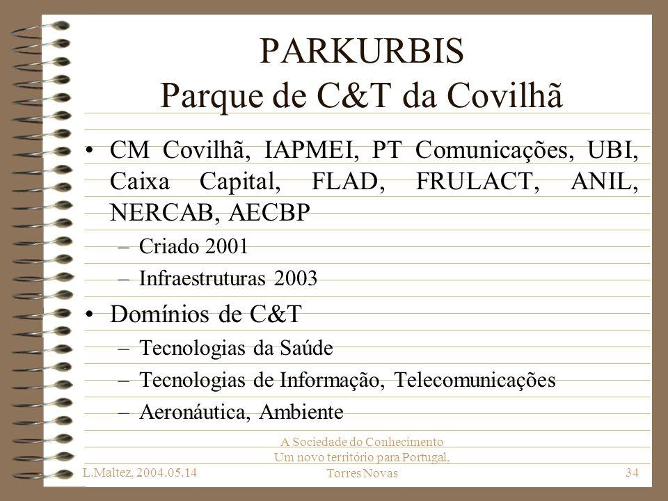 L.Maltez, 2004.05.14 A Sociedade do Conhecimento Um novo território para Portugal, Torres Novas34 PARKURBIS Parque de C&T da Covilhã CM Covilhã, IAPME