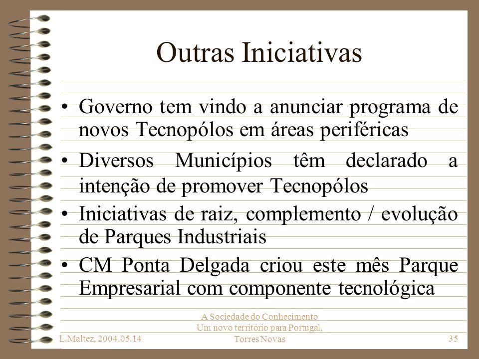 L.Maltez, 2004.05.14 A Sociedade do Conhecimento Um novo território para Portugal, Torres Novas35 Outras Iniciativas Governo tem vindo a anunciar prog