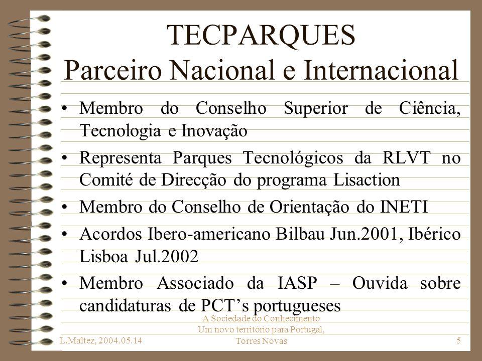 L.Maltez, 2004.05.14 A Sociedade do Conhecimento Um novo território para Portugal, Torres Novas36 Outras Iniciativas A TECPARQUES está disponível para participar no movimento, mas há que fazer uma triagem que distinga Tecnopólos, Parques Empresariais e Parques Industriais A chave é a garantia da base tecnológica e preferencialmente a ligação a instituições de ensino superior ou de I&D