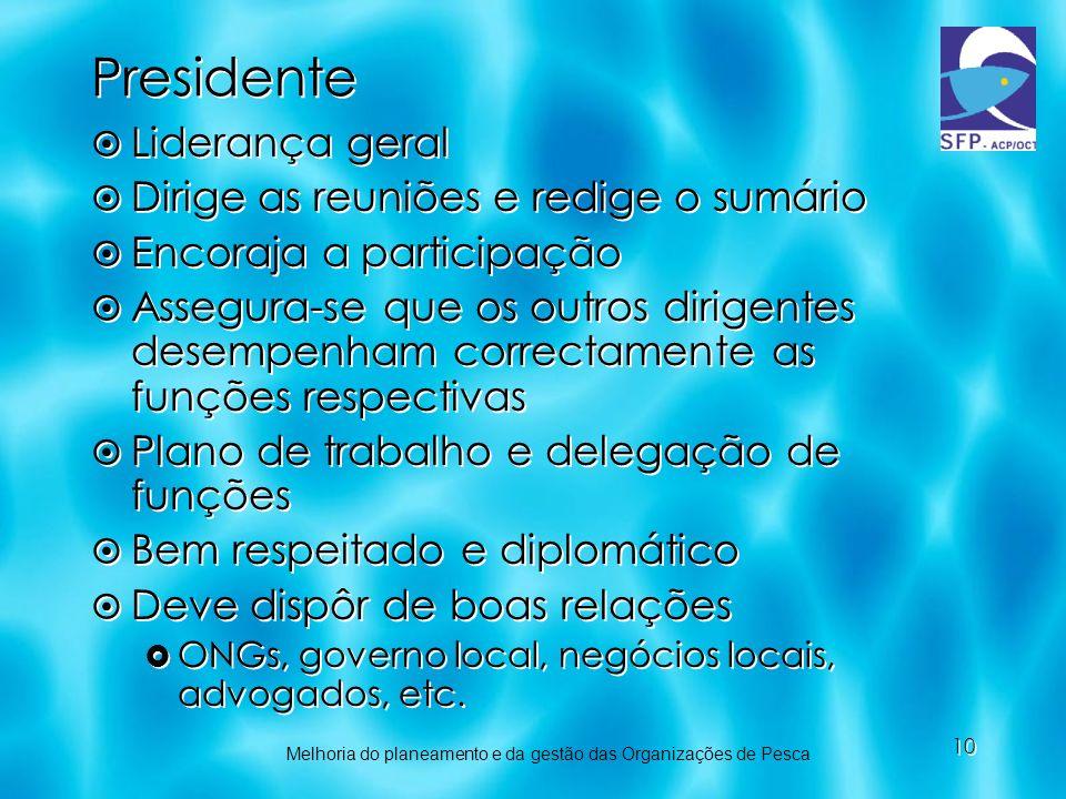 10 Presidente Liderança geral Dirige as reuniões e redige o sumário Encoraja a participação Assegura-se que os outros dirigentes desempenham correctam
