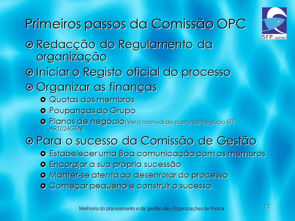 12 Primeiros passos da Comissão OPC Redacção do Regulamento da organização Iniciar o Registo oficial do processo Organizar as finanças Quotas dos memb