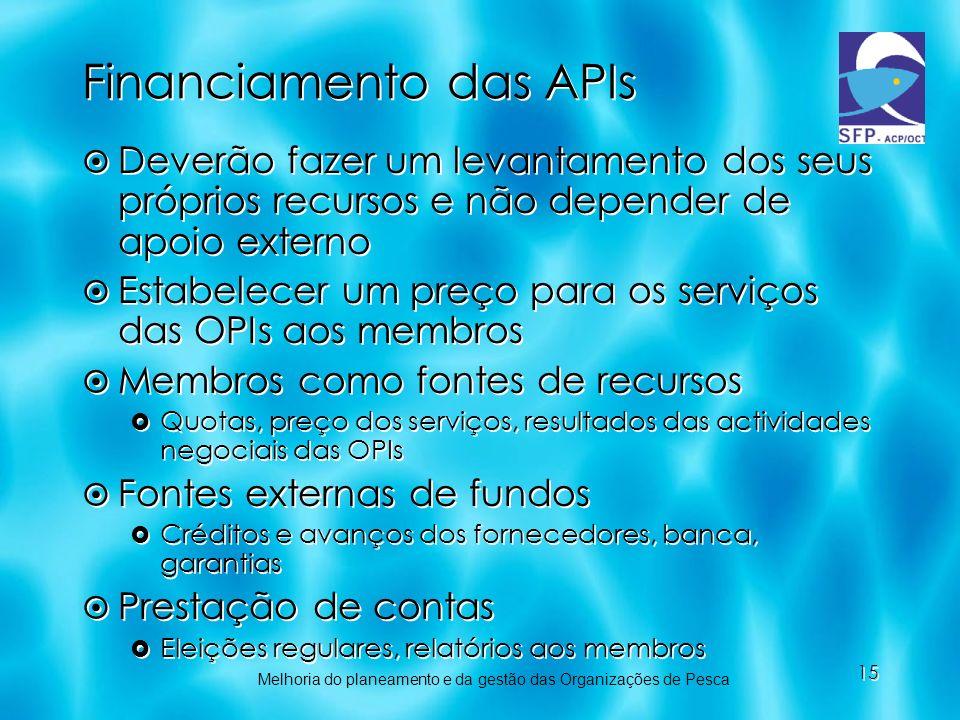 15 Financiamento das APIs Deverão fazer um levantamento dos seus próprios recursos e não depender de apoio externo Estabelecer um preço para os serviç