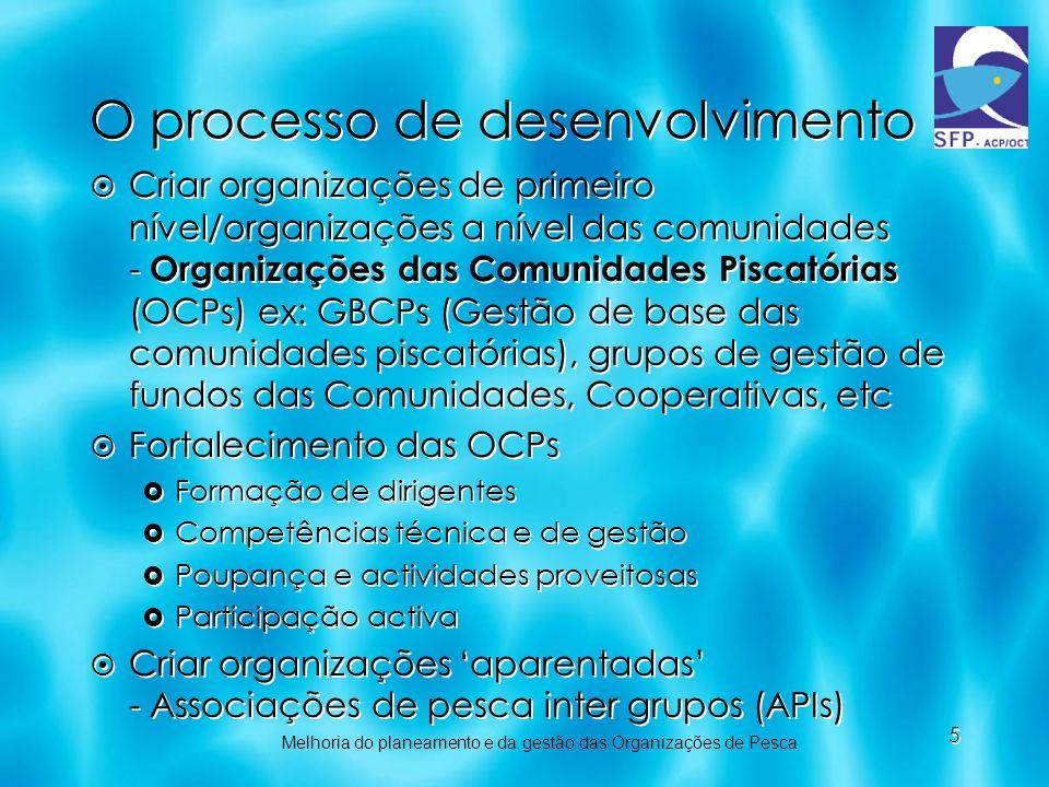 5 O processo de desenvolvimento Criar organizações de primeiro nível/organizações a nível das comunidades - Organizações das Comunidades Piscatórias (