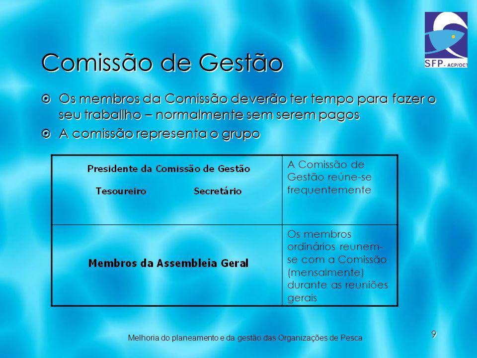 9 Comissão de Gestão Os membros da Comissão deverão ter tempo para fazer o seu traballho – normalmente sem serem pagos A comissão representa o grupo O