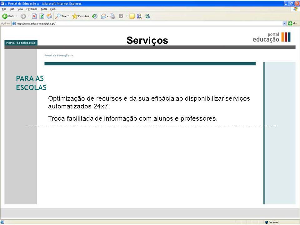 Serviços PARA AS ESCOLAS Optimização de recursos e da sua eficácia ao disponibilizar serviços automatizados 24x7; Troca facilitada de informação com a