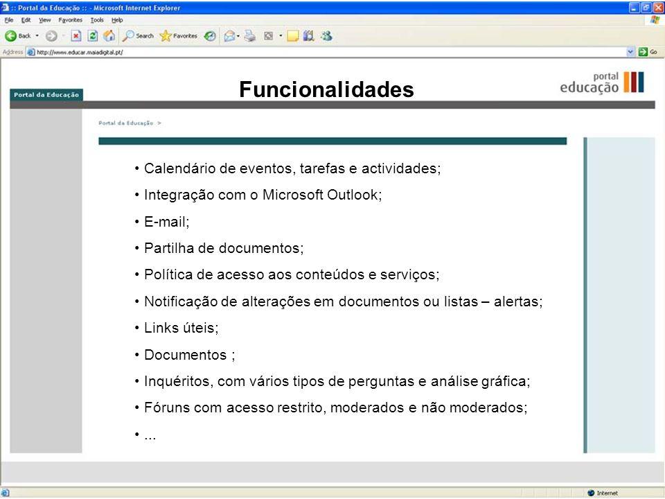 Funcionalidades Calendário de eventos, tarefas e actividades; Integração com o Microsoft Outlook; E-mail; Partilha de documentos; Política de acesso a