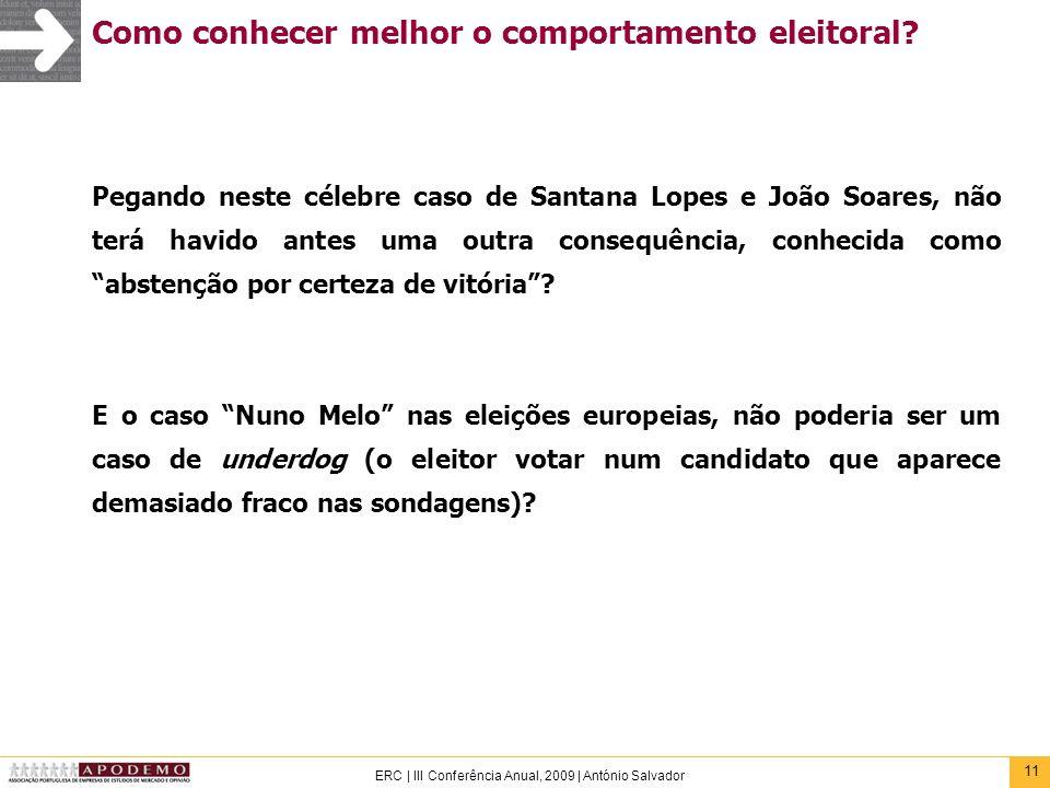 11 ERC | III Conferência Anual, 2009 | António Salvador Como conhecer melhor o comportamento eleitoral? Pegando neste célebre caso de Santana Lopes e