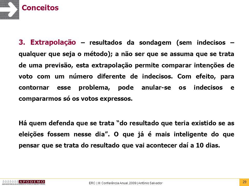 29 ERC | III Conferência Anual, 2009 | António Salvador Conceitos 3. Extrapolação – resultados da sondagem (sem indecisos – qualquer que seja o método