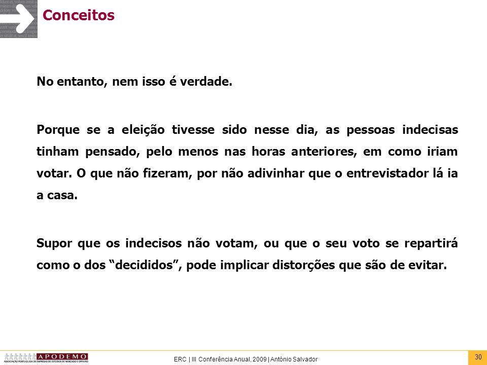 30 ERC | III Conferência Anual, 2009 | António Salvador Conceitos No entanto, nem isso é verdade. Porque se a eleição tivesse sido nesse dia, as pesso