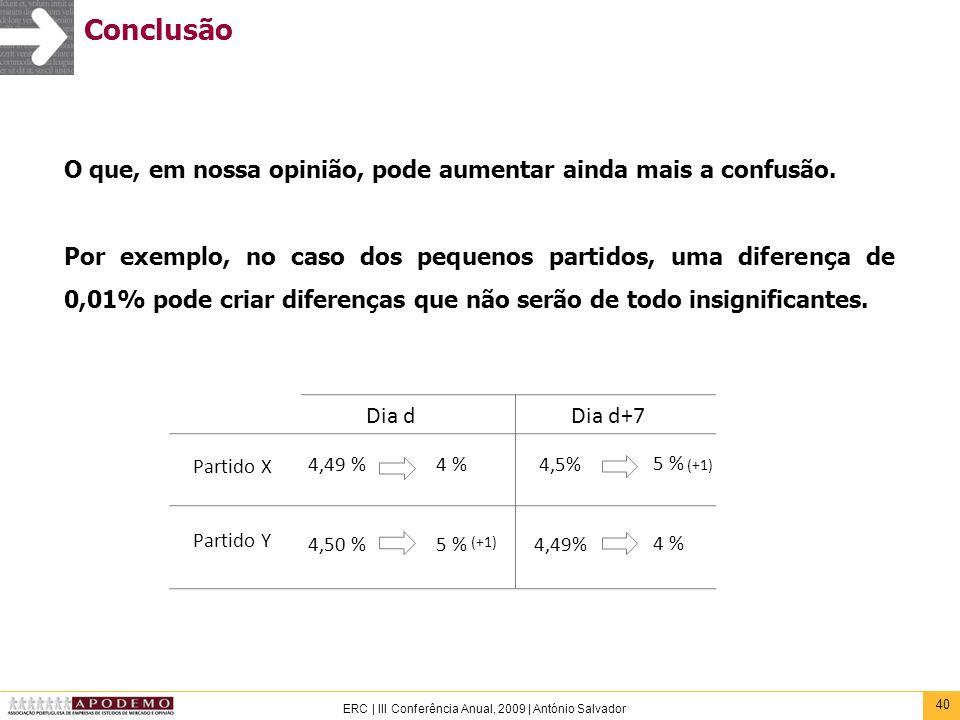 40 ERC | III Conferência Anual, 2009 | António Salvador Conclusão O que, em nossa opinião, pode aumentar ainda mais a confusão. Por exemplo, no caso d