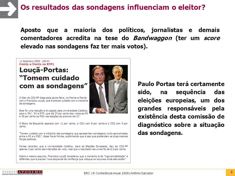 8 ERC | III Conferência Anual, 2009 | António Salvador Os resultados das sondagens influenciam o eleitor? Aposto que a maioria dos políticos, jornalis