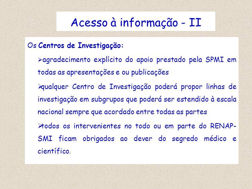 Acesso à informação - II Os Centros de Investigação: agradecimento explícito do apoio prestado pela SPMI em todas as apresentações e ou publicações qu
