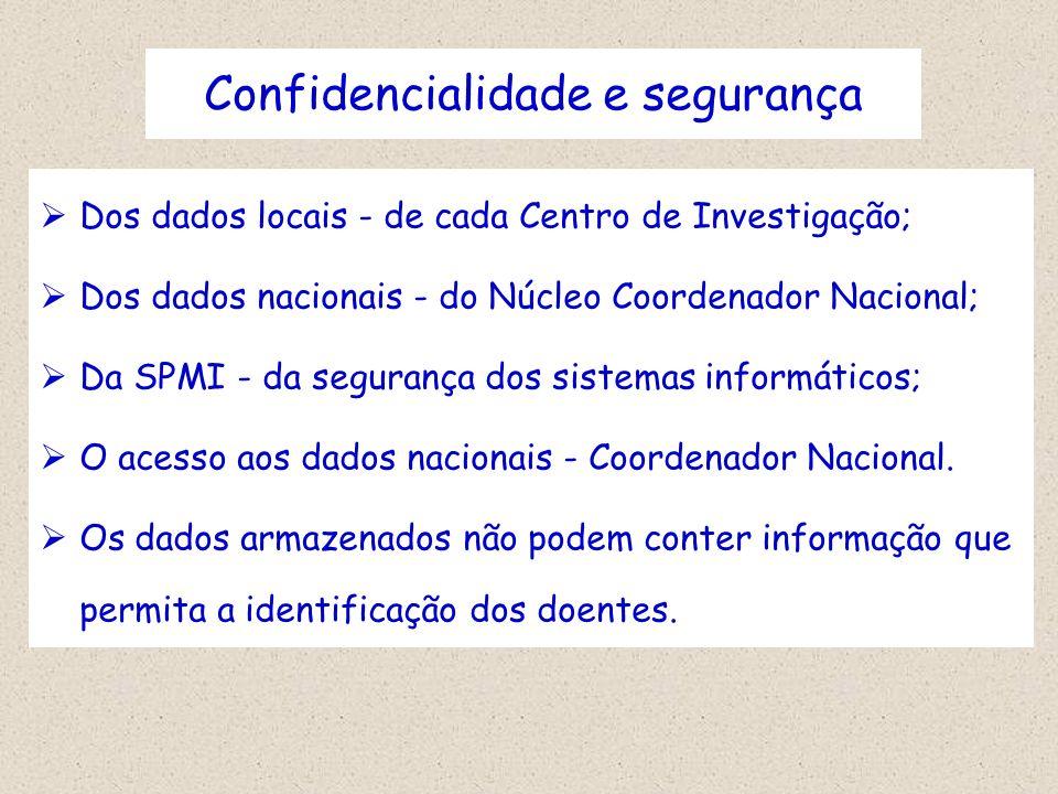 Confidencialidade e segurança Dos dados locais - de cada Centro de Investigação; Dos dados nacionais - do Núcleo Coordenador Nacional; Da SPMI - da se