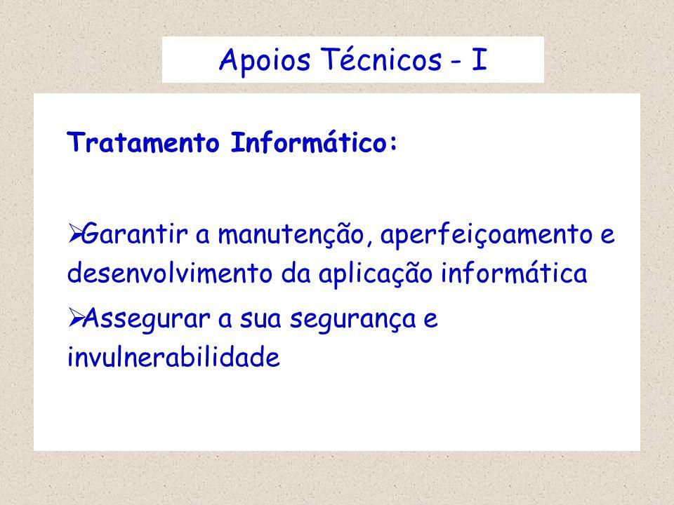 Apoios Técnicos - I Tratamento Informático: Garantir a manutenção, aperfeiçoamento e desenvolvimento da aplicação informática Assegurar a sua seguranç