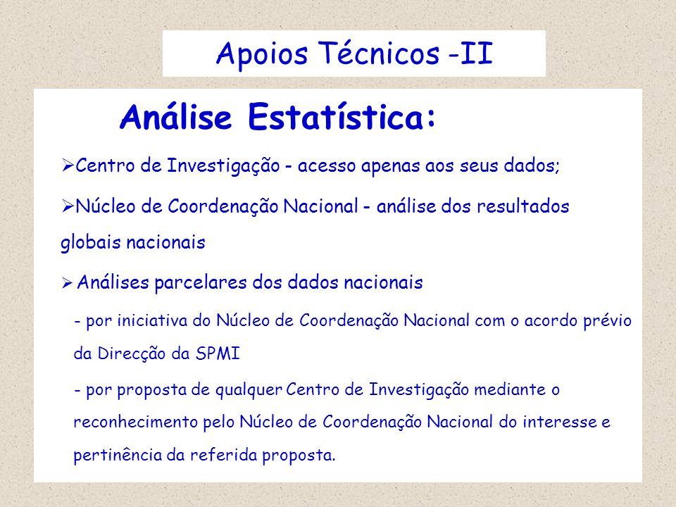 Apoios Técnicos -II Análise Estatística: Centro de Investigação - acesso apenas aos seus dados; Núcleo de Coordenação Nacional - análise dos resultado