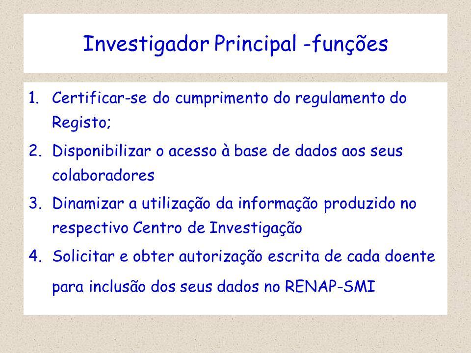 Investigador Principal -funções 1.Certificar-se do cumprimento do regulamento do Registo; 2.Disponibilizar o acesso à base de dados aos seus colaborad