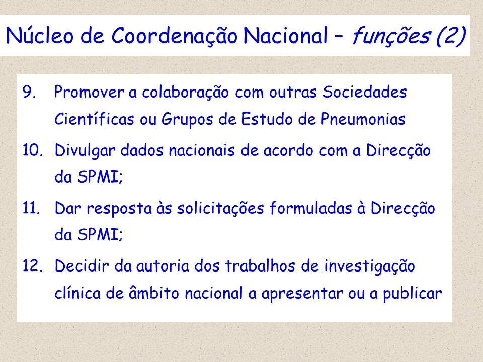 Núcleo de Coordenação Nacional – funções (2) 9.Promover a colaboração com outras Sociedades Científicas ou Grupos de Estudo de Pneumonias 10.Divulgar