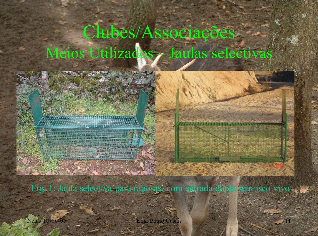 Nelas 10-06-05Eng. Paulo Casais11 Clubes/Associações Meios Utilizados – Jaulas selectivas Fig. 1: Jaula selectiva para raposas, com entrada dupla sem