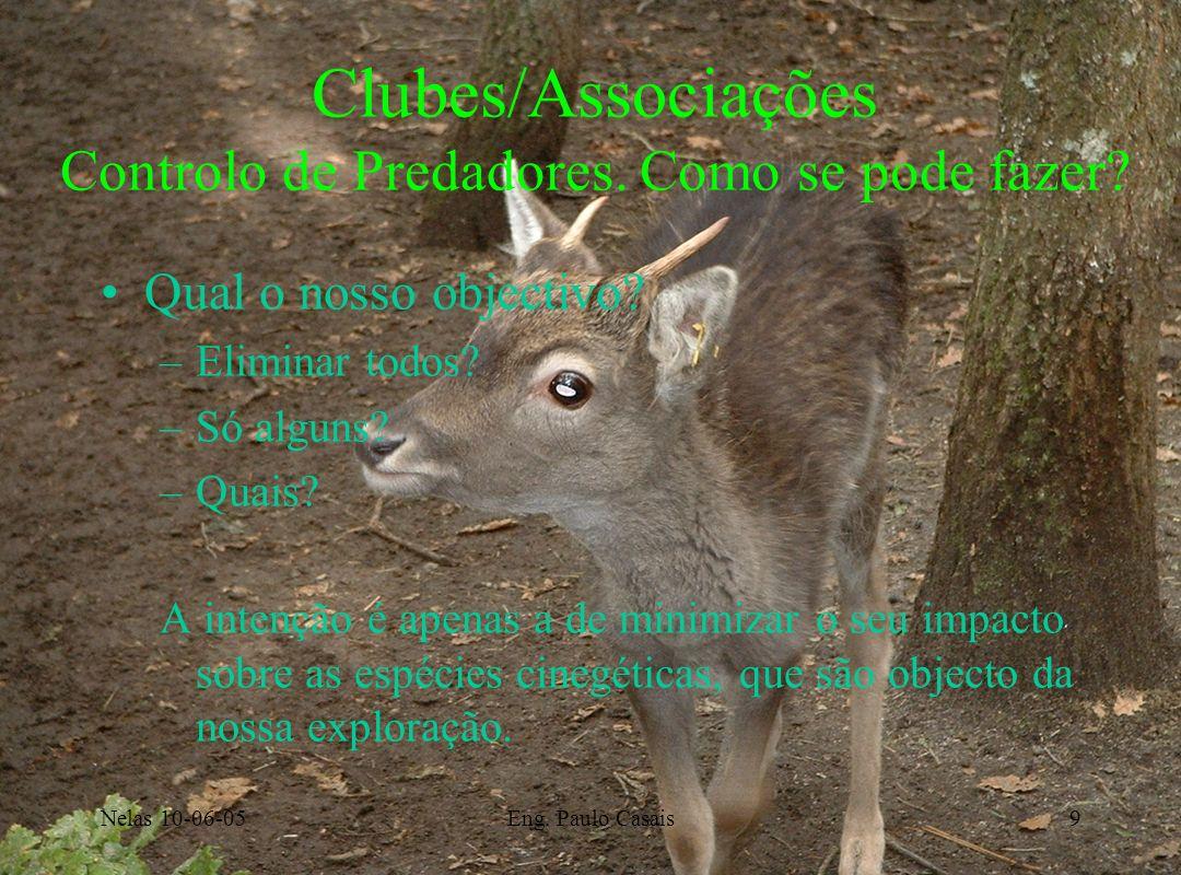 Nelas 10-06-05Eng. Paulo Casais9 Clubes/Associações Controlo de Predadores. Como se pode fazer? Qual o nosso objectivo? –Eliminar todos? –Só alguns? –