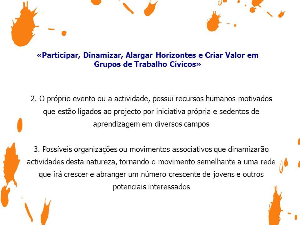 «Participar, Dinamizar, Alargar Horizontes e Criar Valor em Grupos de Trabalho Cívicos» O voluntariado representa um baixo investimento mas produz um enorme efeito.